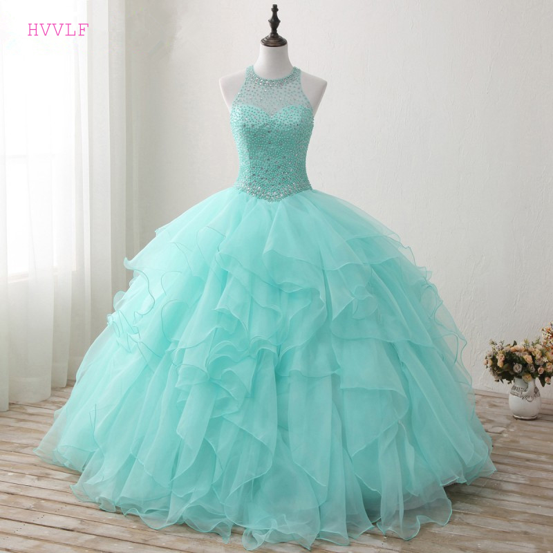 Turquoise Puffy 2019 Cheap Quinceanera Dresses Ball Gown High Collar Tulle Pearls Crystals Ruffles Sweet 16 Dresses