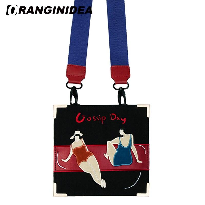 Women Shoulder Bags Retro Canvas Beach Holiday Embroidery Messenger Bags Cartoon Fashion Wide Strap Crossbody Bag