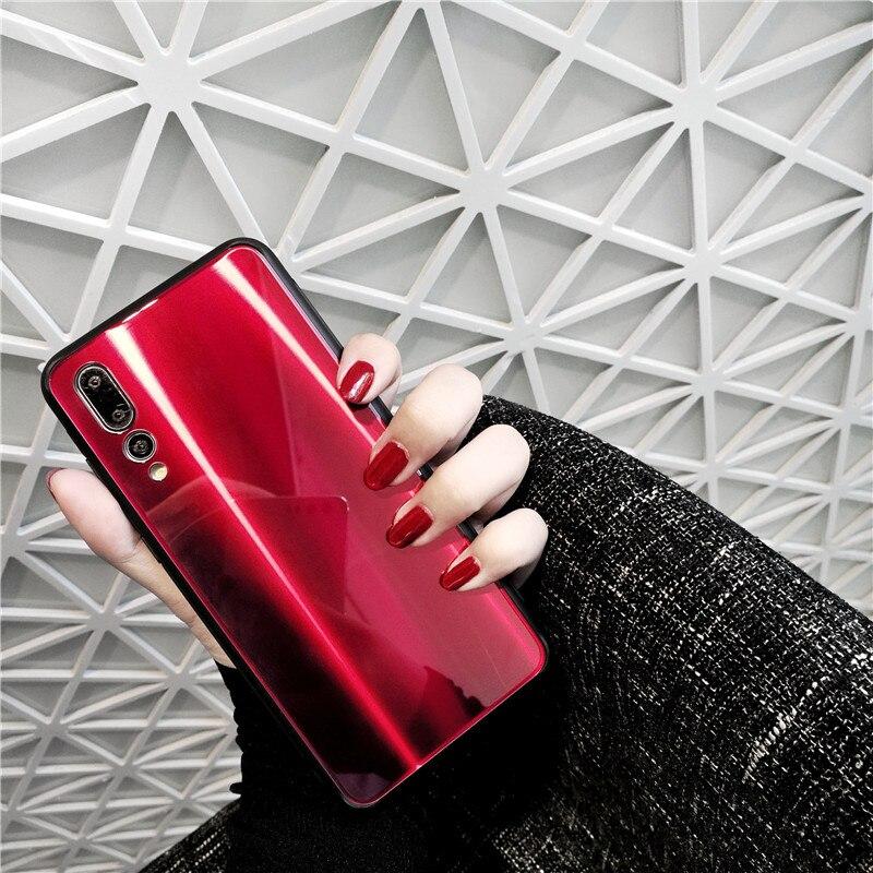 Laser aurora Verre miroir étui pour huawei P20 P20 PRO P20PRO D'affaires de couverture Rose violet noir de Luxe En Argent. Mate 10 Pro.