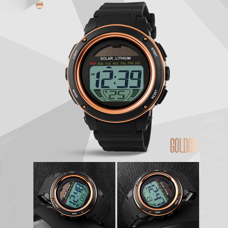 Digital Watch Solar Power Sports Watch Men Shock Digital Water Resistant Wrist Watches TT@88