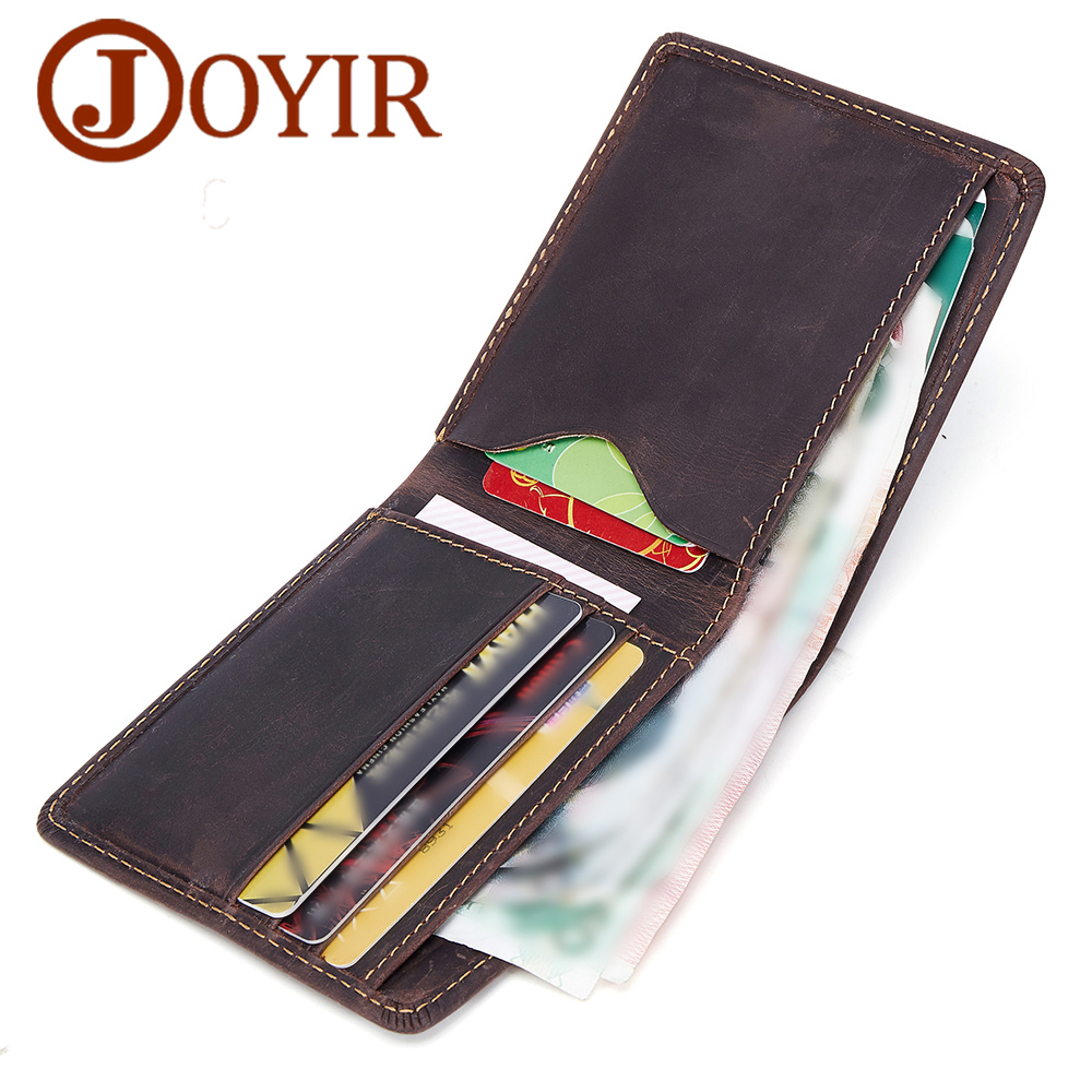 Brand Thin Men Wallet Genuine Leather  Wallet Vintage Crazy Horse Short Men Wallets Male Purse Coin Purse Card Holder Carteira цена и фото