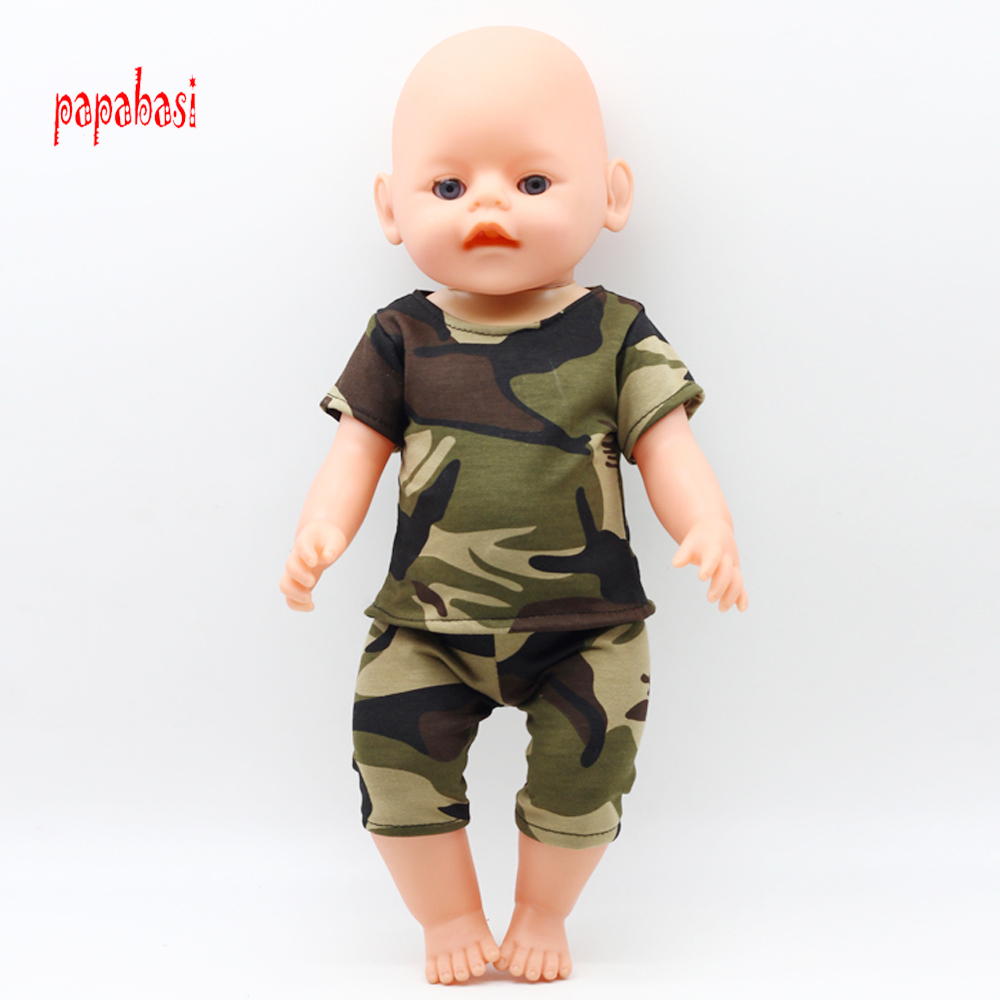 1Set Doll Camouflage Battle Fatigues Doll Clothes Fit 18 Inch American Girl Dolls 43cm Baby Born