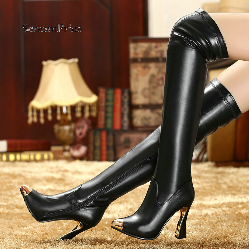 Women Genuine Leather Side Zipper Thick High Heel Over The Knee Boots Fashion Pointed Toe Elastic Boots Black White