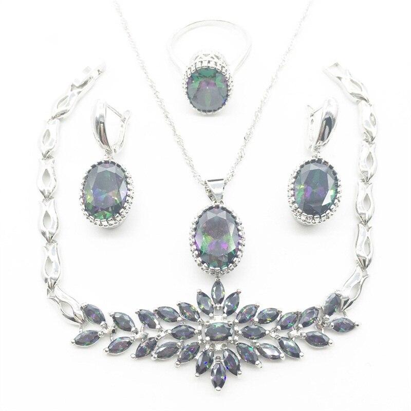 4 pièces 925 argent collier pendentif boucles d'oreilles anneaux bracelet arc-en-ciel bijoux ensembles livraison gratuite