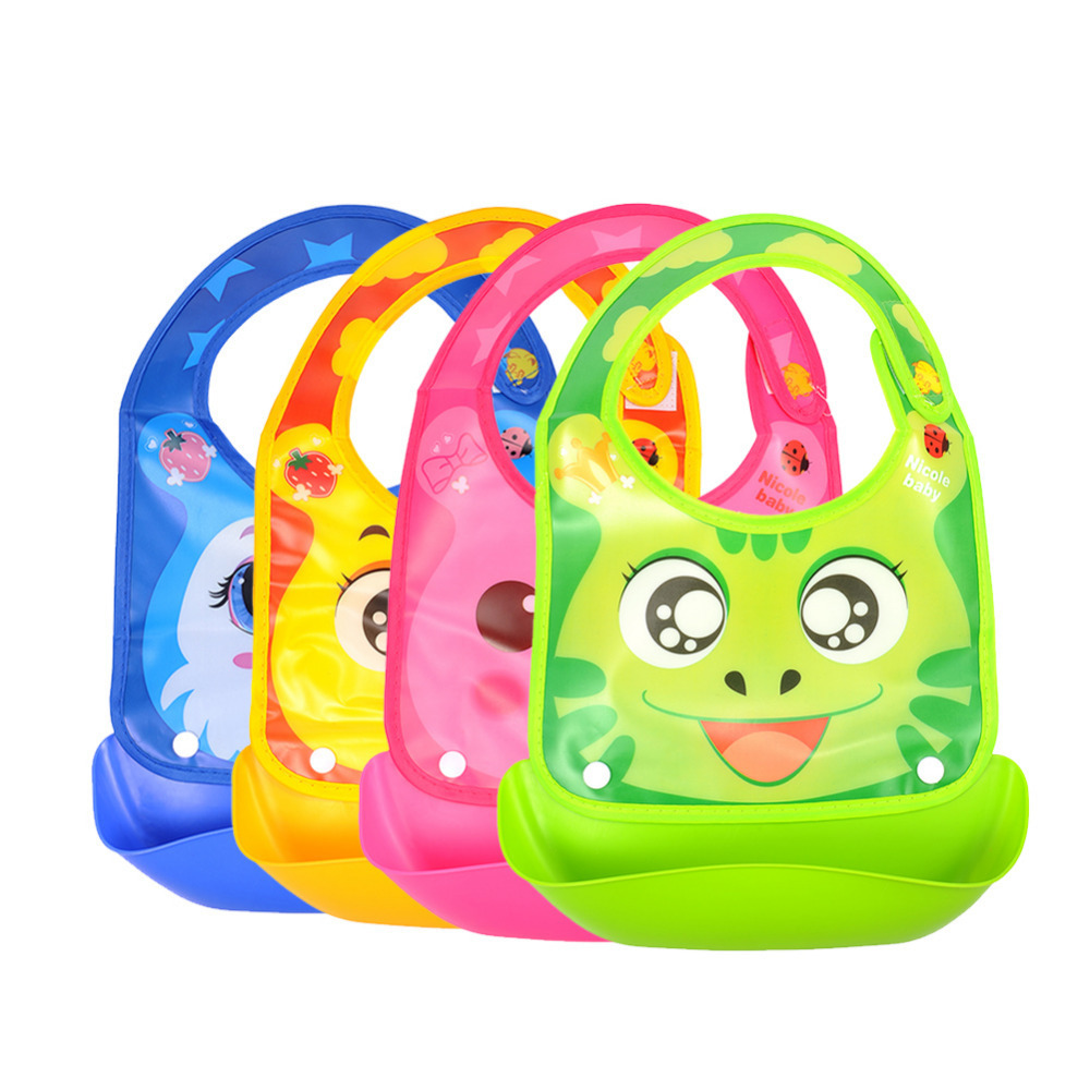 Lovely Baby Waterproof Bibs Feeding Newborn Infant Cartoon Animals Pattern Food Bibs Silicone Baby Bibs
