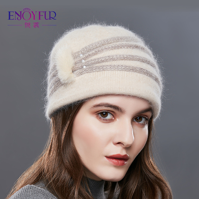 a8cc98ff8ee1c4 ENJOYFUR Pearl Decoration Cashmere Knitted Hat Female Oblique Stripes Winter  Hats Women Thick Warm Beanies Lady Middle-Aged Caps