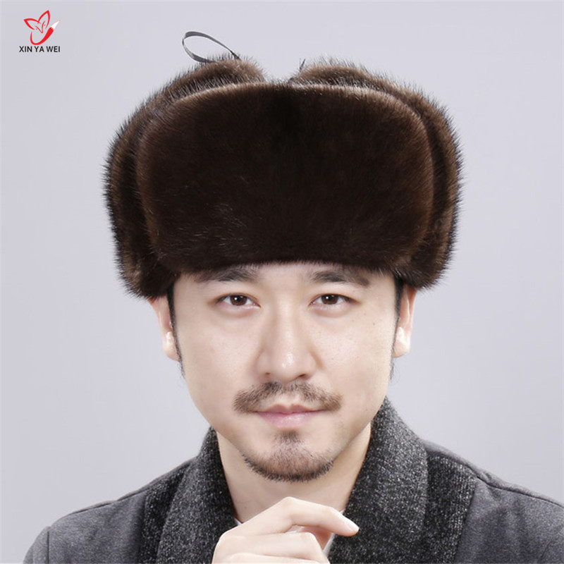 9f1d0860c US $74.92 49% OFF|2019 Winter Fashion Genuine Mink Fur Cap Bomber Fur Hat  For Man Cold Outdoor Ear Warm Ride Motocycling Russian Leather Mink Cap-in  ...