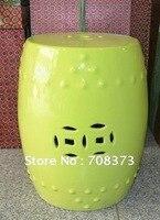 Asia Yellow Glazed Porcelain Drum Garden Seat