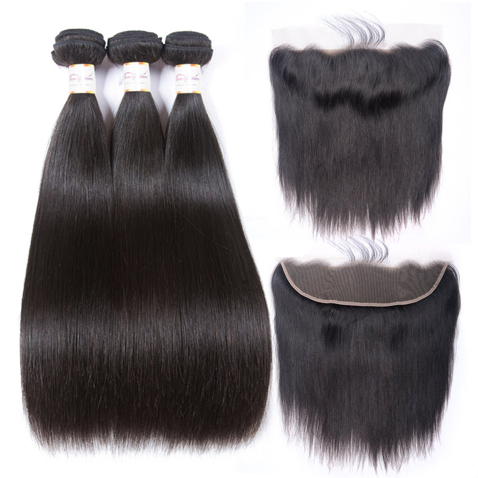 Beauty Grace Bundles With Frontal 3 Bundle Non Remy 13x4 Frontal Closure Peruvian Straight Human Hair