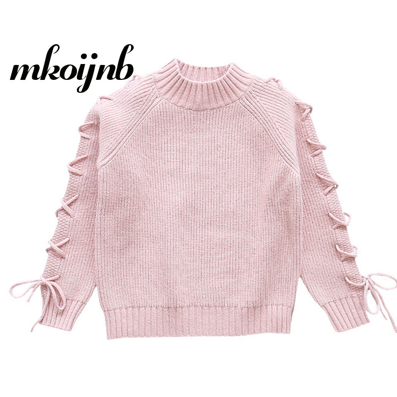 2018 Teenage Girls Fashion Sweater 4 5 6 7 8 9 10 11 12 13 Years Long Sleeve O-neck Solid Kids Sweaters Autumn Children Clothes casual long sleeve v neck solid color sweater