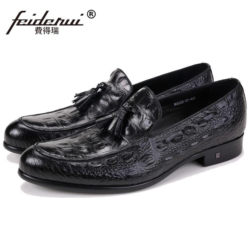 Sur Zh72 Marque Chaussures Casual Véritable Mocassins Rouge Cuir Crocodile Designer Mode Slip Ronde En Hommes Masculins Homme De Toe vin marron Confortable Appartements Noir 6tFqHFw