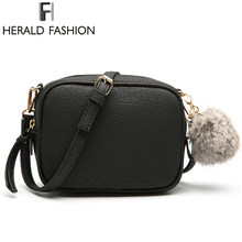 Herald Mode Scrub Vrouwen Messenger Bag Met Hairball Kleine Clutch Schoudertas PU Leer Vrouwen Flap Casual CrossBody Tas(China)