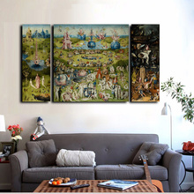 3Pcs Canvas Prints Wall Art - Hieronymus Bosch Famous Oil Painting The Garden of Earthly Delights On Home Decor