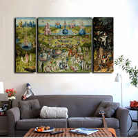 3Pcs Canvas Prints Wall Art - Hieronymus Bosch Famous Oil Painting The Garden of Earthly Delights Prints On Canvas Home Decor