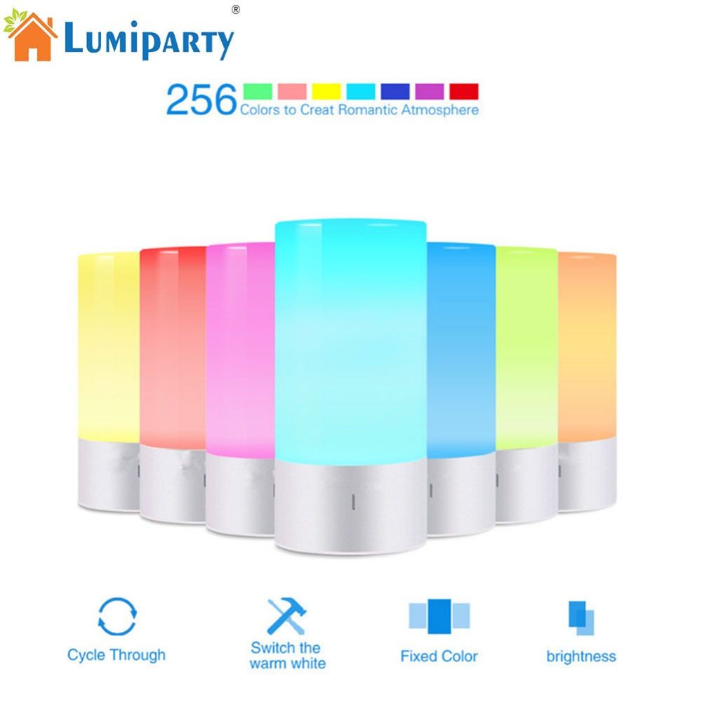 LumiParty LED Light Touch Sensor Table Bedside Lamp Dimmable 256 RGB Color Changing Aluminum Base Illumination Mood Night Light lumiparty smart bedside lamp touch sensor led night light rgb dimmable atmosphere led lamp intelligent mood nightlight