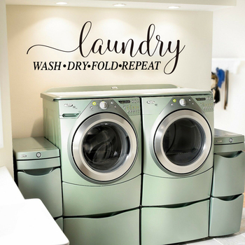 Laundry Wash Dry Fold Repeat Quote Wall Sticker Washing Room Laundry Words Sign Wall  Decal Laundry Room Vinyl Home Decor 1