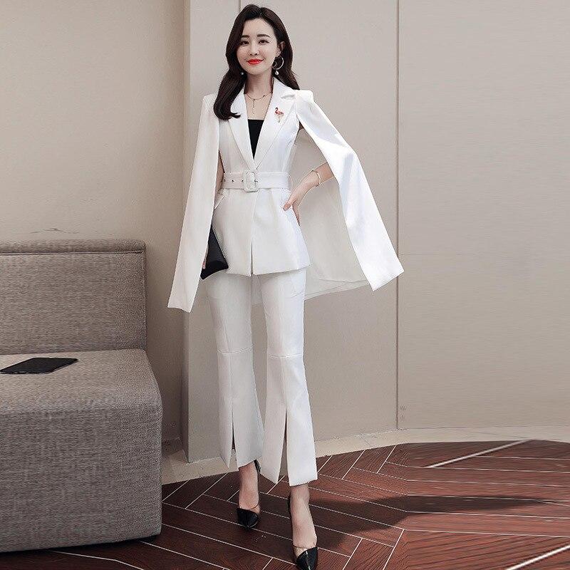 Couleur Océan white Solide Deux Suit Manteau veste Costume Mode De red Femmes piece Pantalon D'affaires Décontracté Black IxFqwTHXn