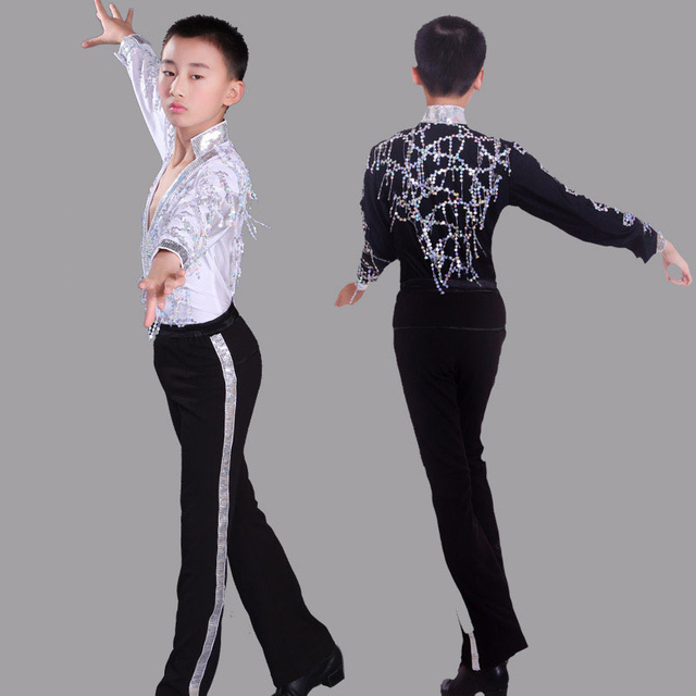 bff3b7b6cfa07f Klassieke Zwarte Jongens Latin Dansen Pailletten Shirts Lange Mouw Moderne  Tango Dans Kleding Top Kids Stage