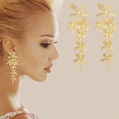 OMH wholesale buy 5pair OFF20% gold white 18KT white gold Austrian crystals fashion Fringed flowers Dangle Earrings EH200