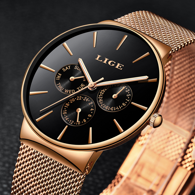 LIGE Men's Watches New Luxury Brand Watch Men Fashion Sports Quartz Qatch Stainless Steel Mesh Strap Ultra Thin Dial Analog Watc onlyou brand luxury fashion watches women men quartz watch high quality stainless steel wristwatches ladies dress watch 8892
