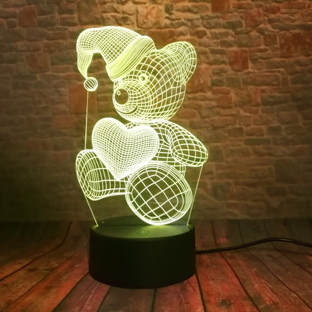 3D LED Hologram – Nočné svetlo – Sleeping Teddy Bear Hold Love Heart