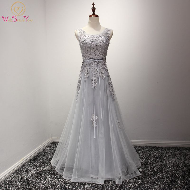 Walk Beside You   Prom     Dresses   Long Gray Lace Applique Beaded Evening Gowns 2018 Floor Length Graduation   Dress   Formal   Dress   Women