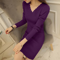 2017 Spring Winter Women Sweater Dress V Neck Long Sleeve Sexy Slim Solid Short Knitted Dress Pullover Sweater Sudaderas