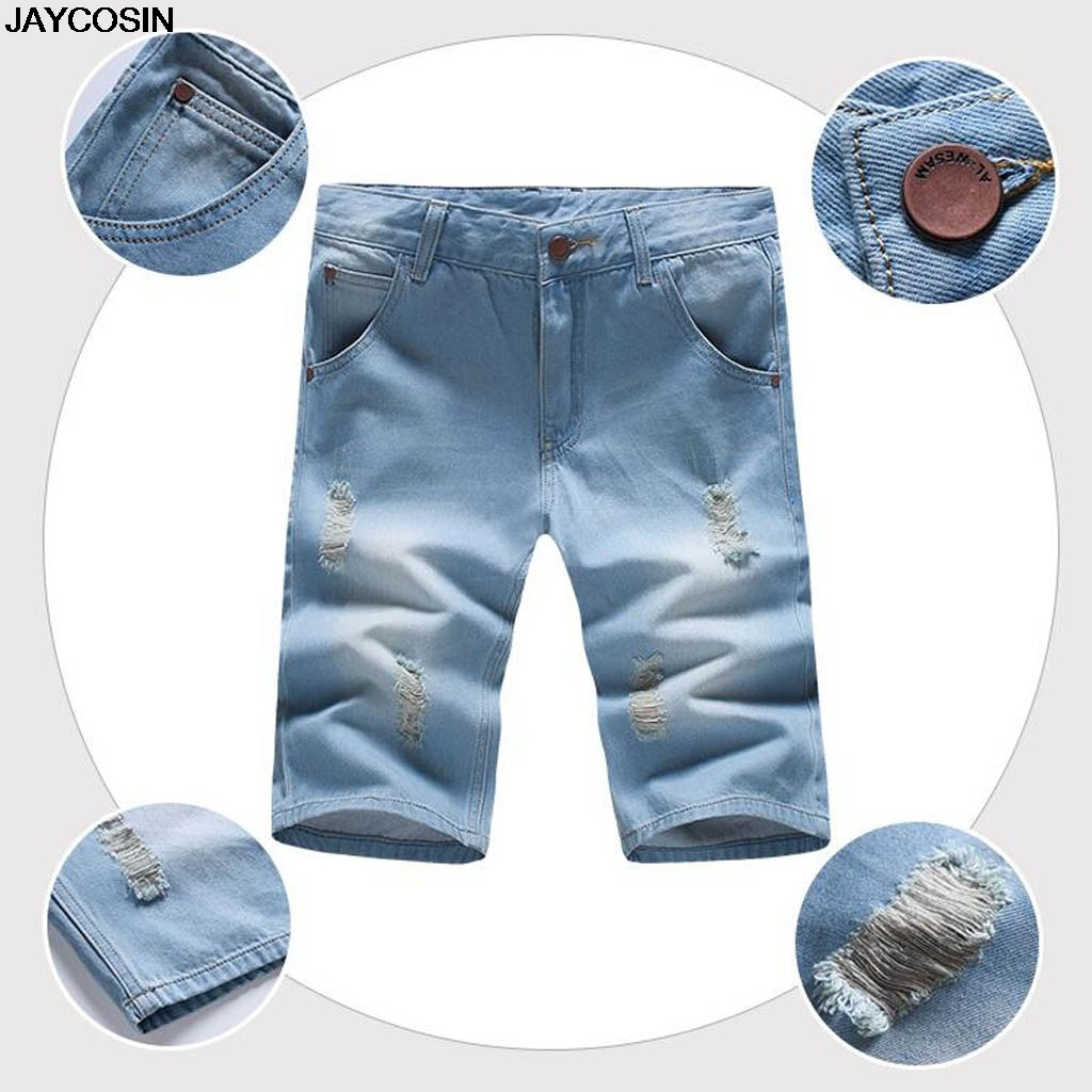 KLV Jeans Shorts Trousers Pants Pocket Men's Big-Size Casual High-Quality Fashion New