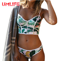 Sexy Brazilian Bikini Set Zipper Bandeau Bikinis Women 2017 Leaf Printed Swimsuit Bathing Suit Female High
