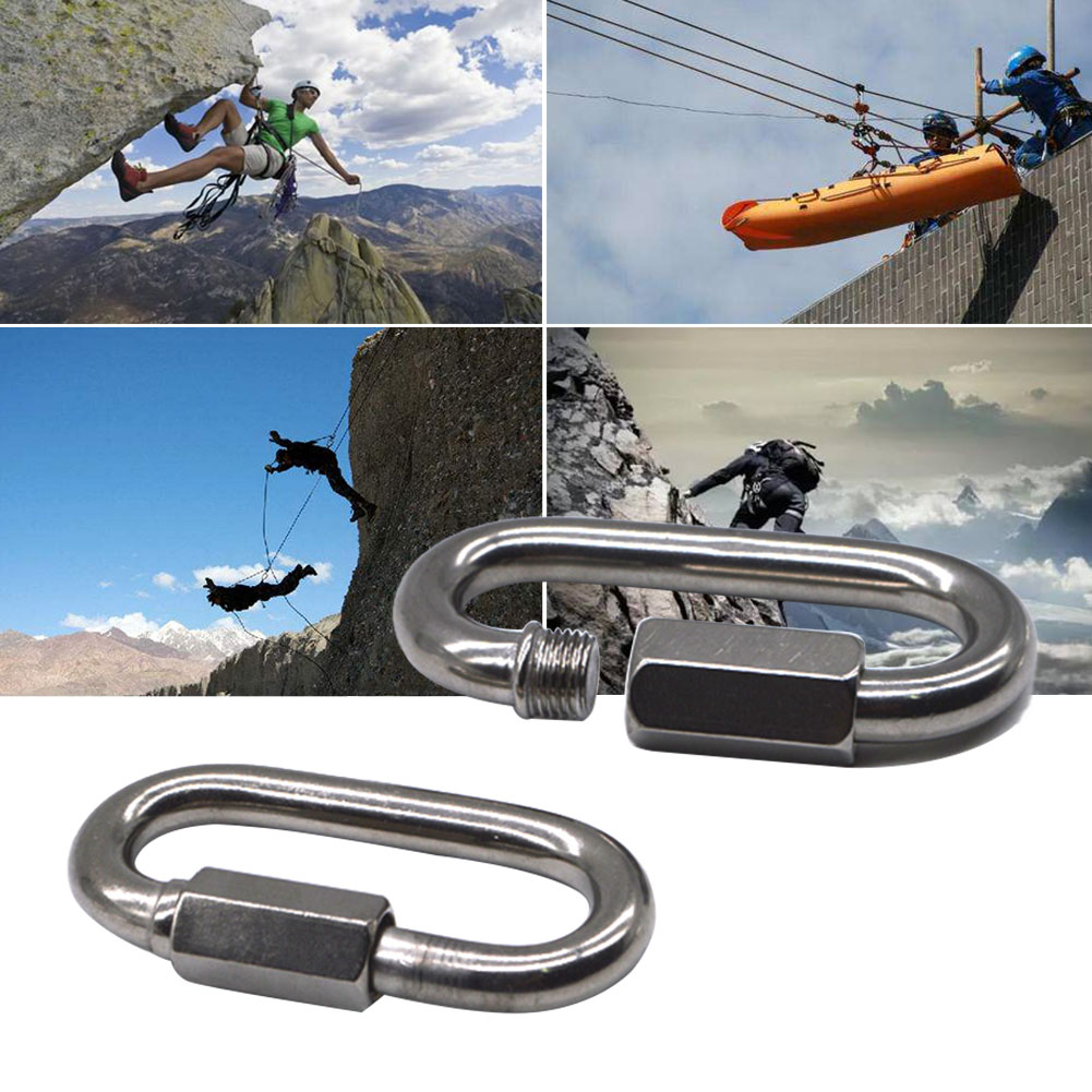 Compact Fishing Climbing Durable Oval Locking Keychain Buckle Carabiner Clip Connector Mountaineering Hook Reliable Outdoor