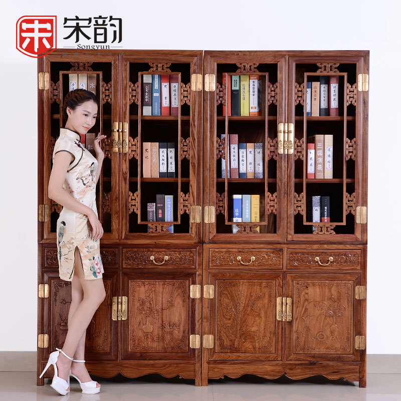 Song Yun Mahogany Furniture, Rosewood Floor Corner Bookcase Study Chinese Wood Antique Bookcase With Door Locker