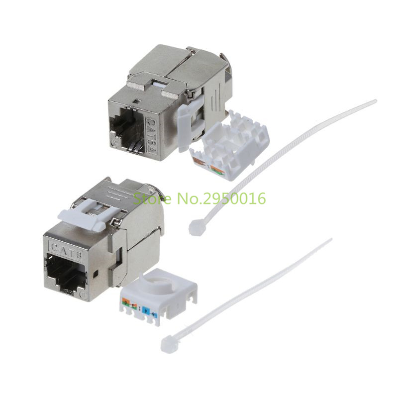 1Pc RJ45 Keystone Cat6/Cat6A Shielded FTP Zinc Alloy Module Network Keystone Jack Connector Adapter C26