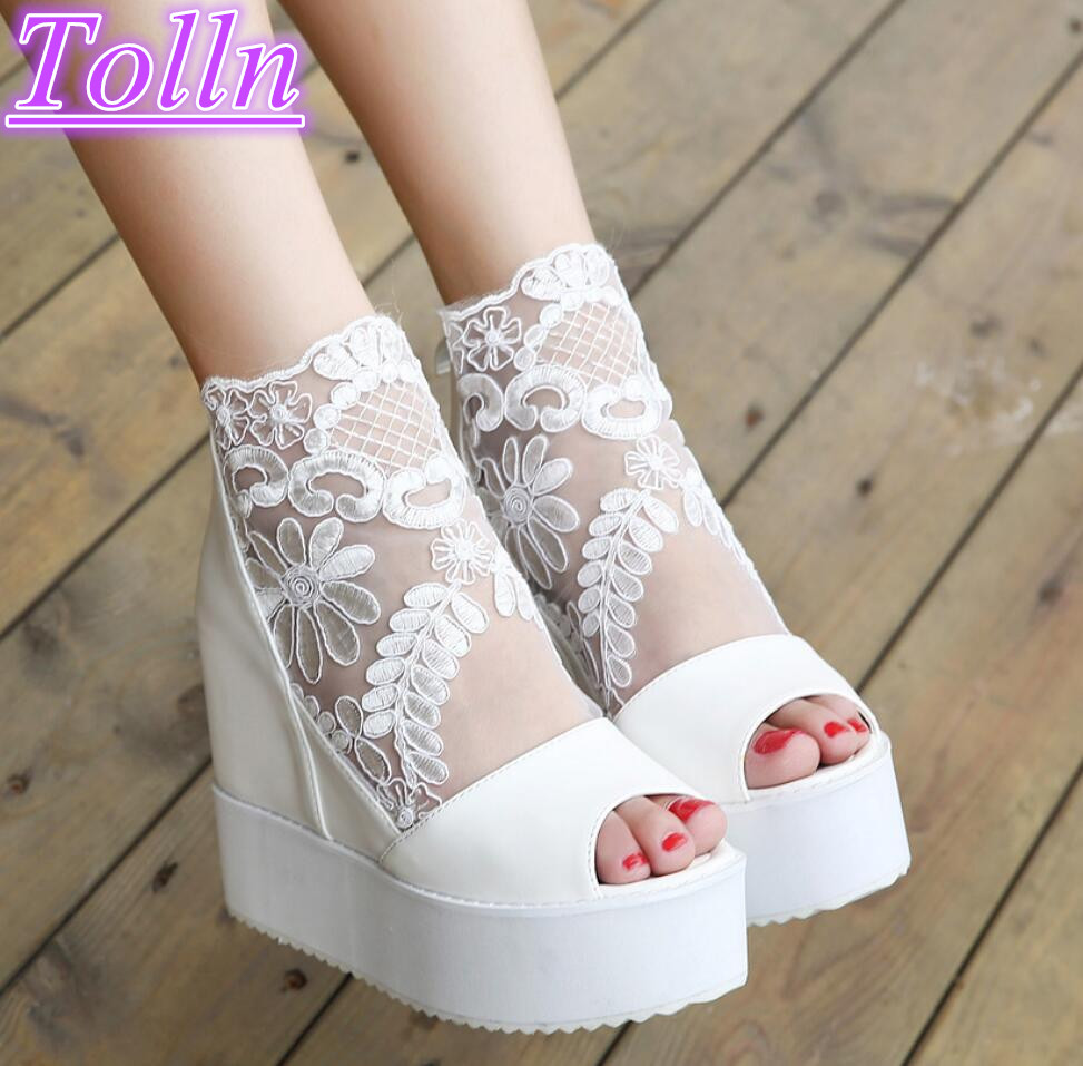 Summer women pumps sandals comfortable heavy-bottomed platform high heels sexy lace woman wedding fish mouth valentine wedges phyanic bling glitter high heels 2017 silver wedding shoes woman summer platform women sandals sexy casual pumps phy4901