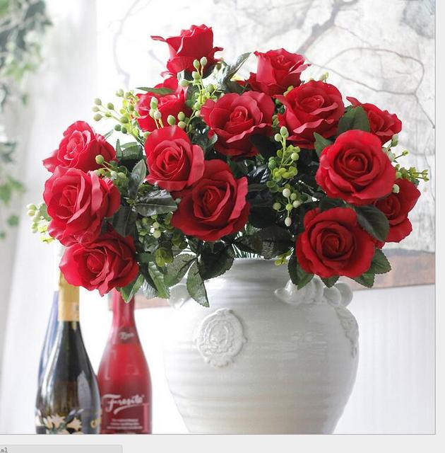 Rozen In Vaas.6 Stks Kunstmatige Rose Bloem Rozen Boeket Middelpunt Tafel Vaas