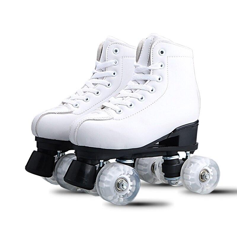 Blanc Noir Adulte double-rangée patins patins à roulettes Adulte mâle et femelle double-rangée patins à roulettes sports de Plein Air chaussures