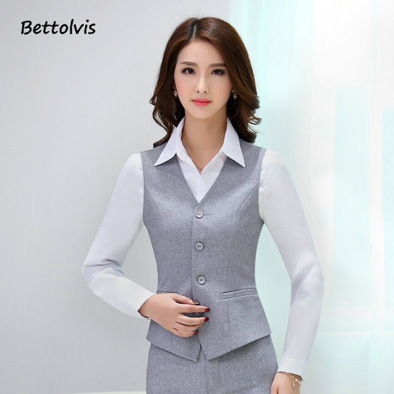 Summer Fashion Women Business Suits with Skirt and Top Sets Gray Vest Waistcoat Slim Ladies Office Uniform Styles Work Wear Спортивный бальный танец