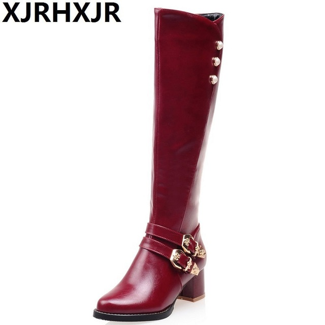 31-52 Good Quality Leather Knee High Boots 5cm Square Heels Autumn Winter Riding Boots Female Shoes Woman Fashion Rivets Buckle