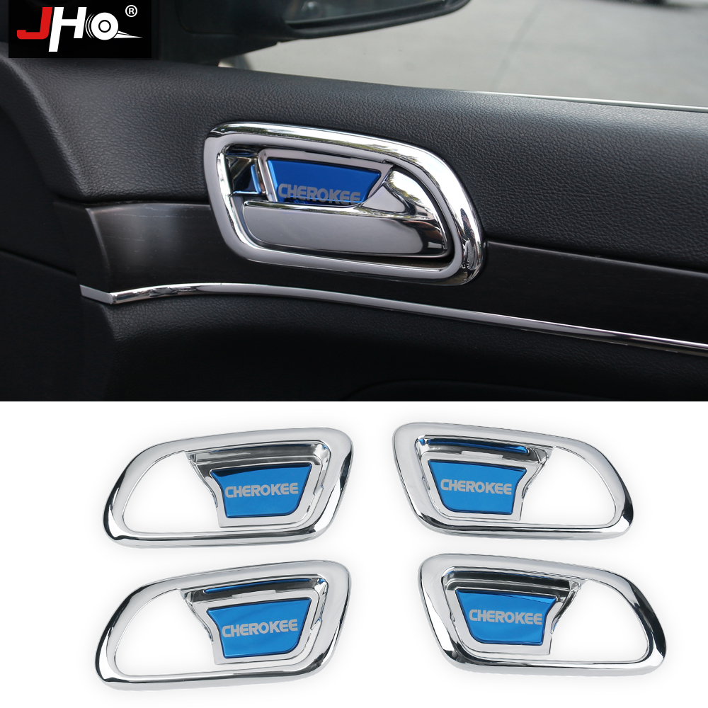JHO ABS Chrome Inner Door Bowl Wrist Handle Cover Trim For 2014-2018 Jeep Grand Cherokee 2016 2017 2015 Car Styling Accessories