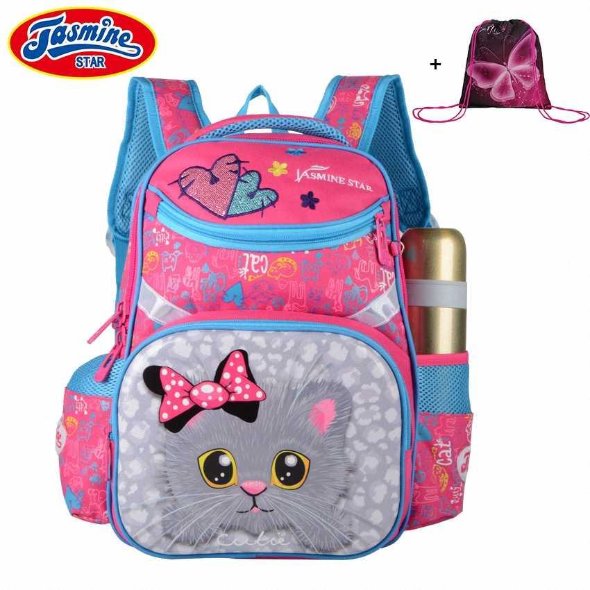 9efdf7f98608 JASMINESTAR детские школьные сумки для дюймов девочек с рисунком кота  рюкзаки 15 дюймов Детские ортопедические школьные