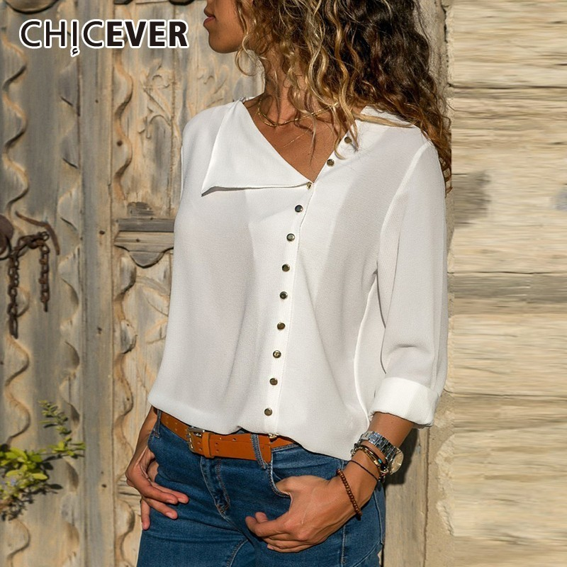 CHICEVER Summer Casual Solid Women's Blouse Irregular Skew Collar Long Sleeve Button Slim Plus Size Female Shirt 2019 Fashion