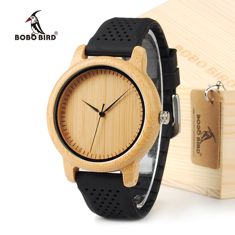 BOBO BIRD Men Design Bamboo Wood Quartz Watch Japanese Movement Inside With Soft Silicone Strap Casual Ladies watch For Gift bobo bird men dress bamboo watches luxury men s top brand designer quartz watch with japanese movement bamboo strap for gift
