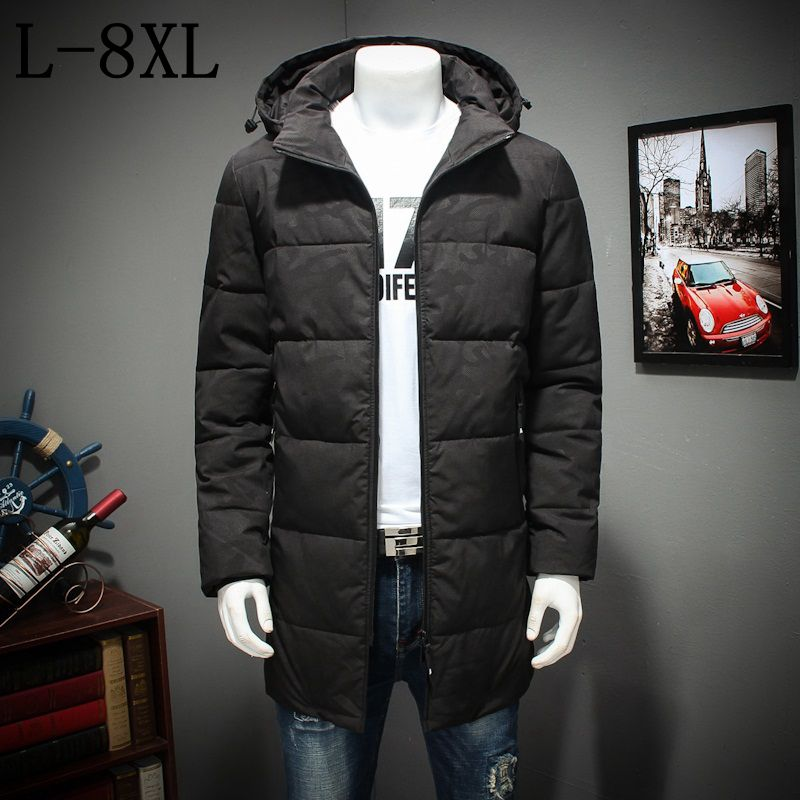 -30 Degree 2017 New Arrival Winter Jacket Men Cotton Padded Long Thick Warm Casual Hooded Mens Winter Coat Plus Size 7XL 8XL 2016 new long winter jacket men cotton padded jackets mens winter coat men plus size xxxl