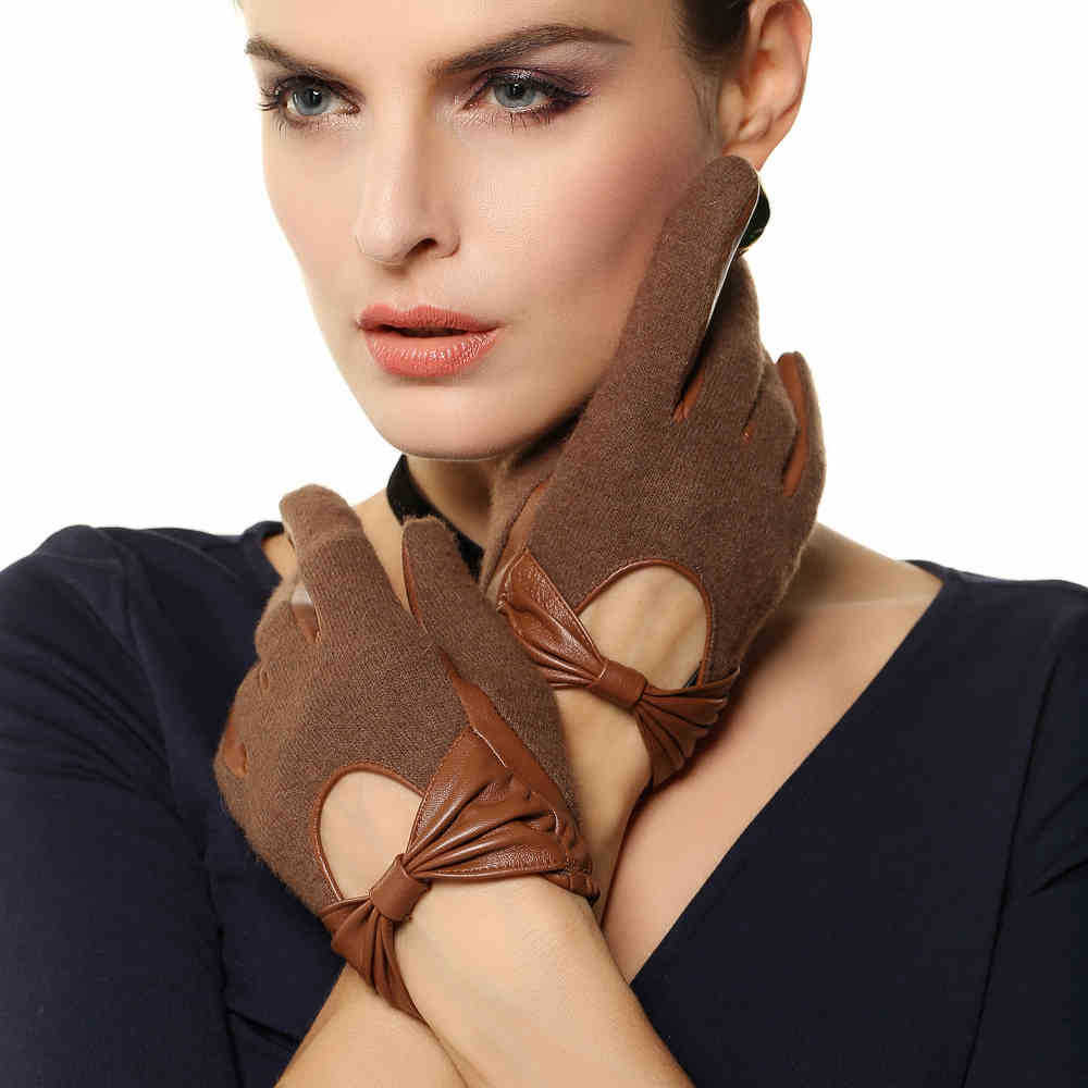 Skin tight leather driving gloves - Top Fashion Women Gloves Wrist Bowknot Solid Spring Autumn Thin Genuine Leather Female Sheepskin Glove For Driving L133nn