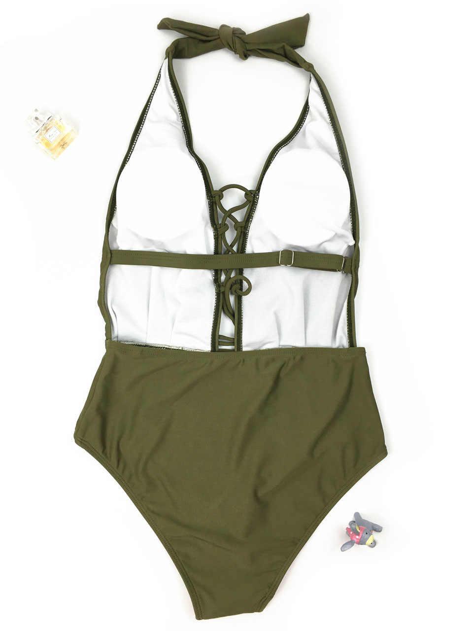 Армейский зеленый Монокини сдельный купальный костюм Высокая талия купальники для женщин со шнуровкой Maillot Femme купальник пляжная одежда боди трикини