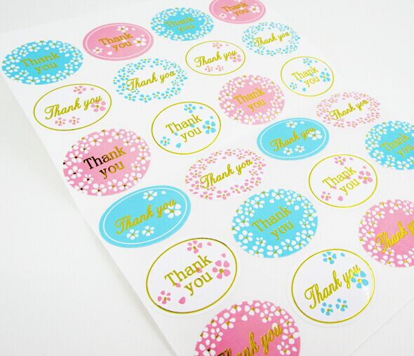240Pcs 2019 Hot Sale Golden Thank You Flower Handmade Cake Packaging Sealing Label Kraft Sticker Baking DIY Gift Stickers M1047