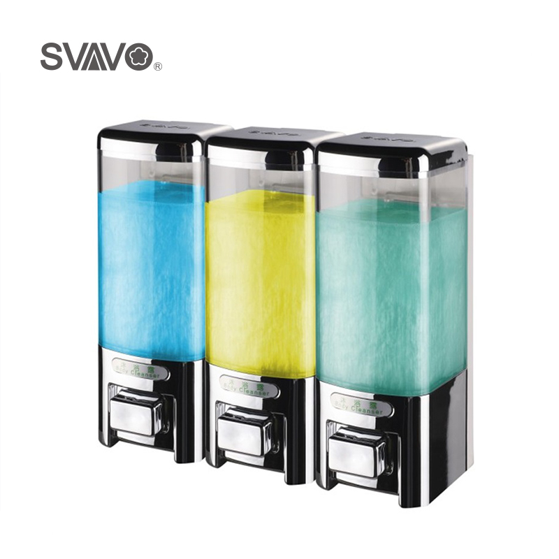 SVAVO 500ml*3 Wall Mounted Triple Soap Dispenser Large capacity Liquid Soap Dispenser Hand Pressing Manual Soap Dispenser