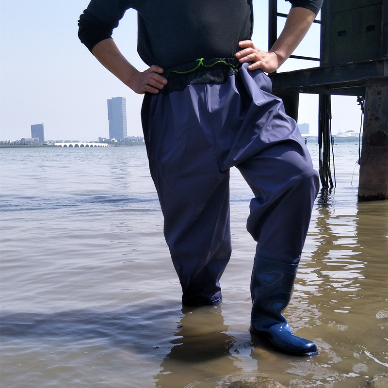 High-Jump Breathable Waist Mesh Fishing Waders Waterproof PVC Boot Soft Bottom Leather Pant Waders for Hunting Fishing Overalls