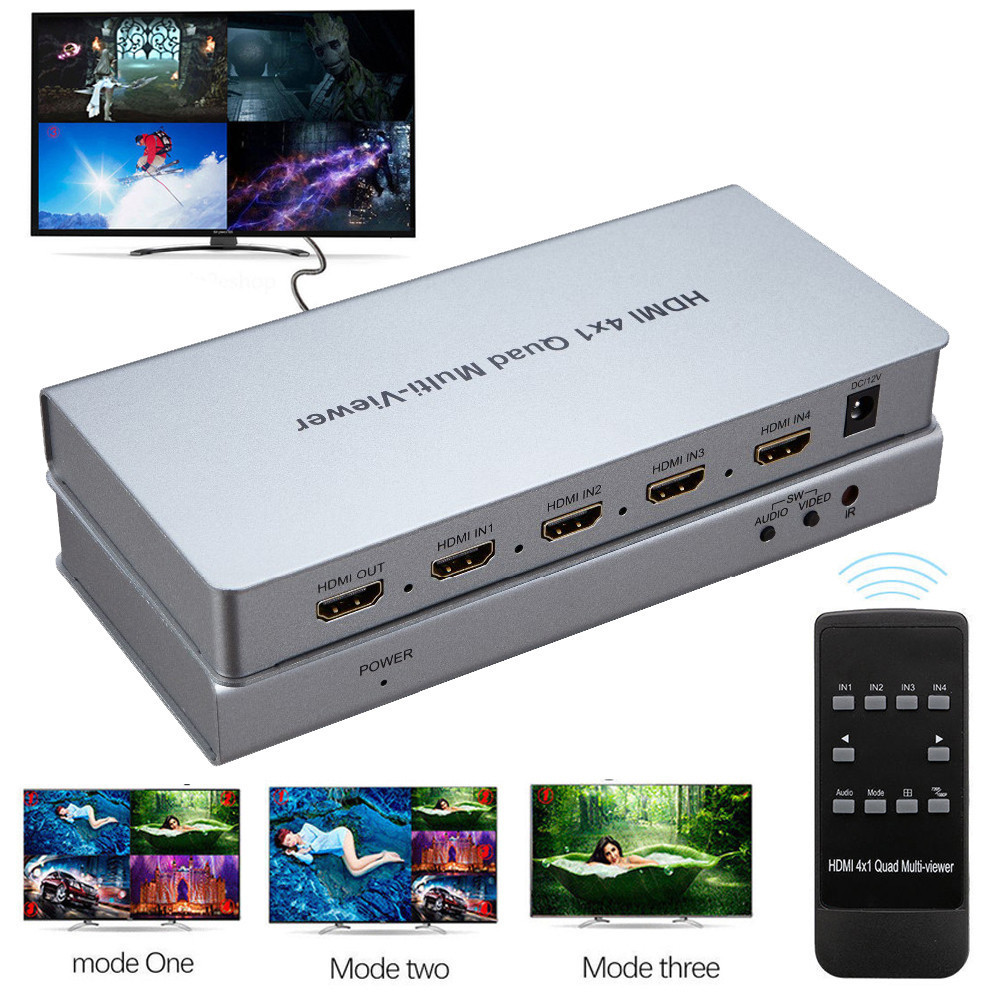 Quad Screen HDMI Video At One TV HDMI Seamless Switcher Multi-viewer HDMI Real Time Multiviewer Full 1080P 3D HDCP HDTV PC DVD full 1080p hdmi 4x1 multi viewer with hdmi switcher perfect quad screen real time drop shipping 1108