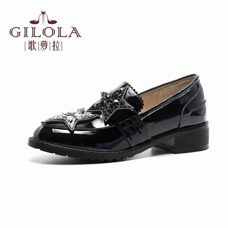 GILOLA/модные пикантные женские туфли лодочки на толстом каблуке 3 5 см из
