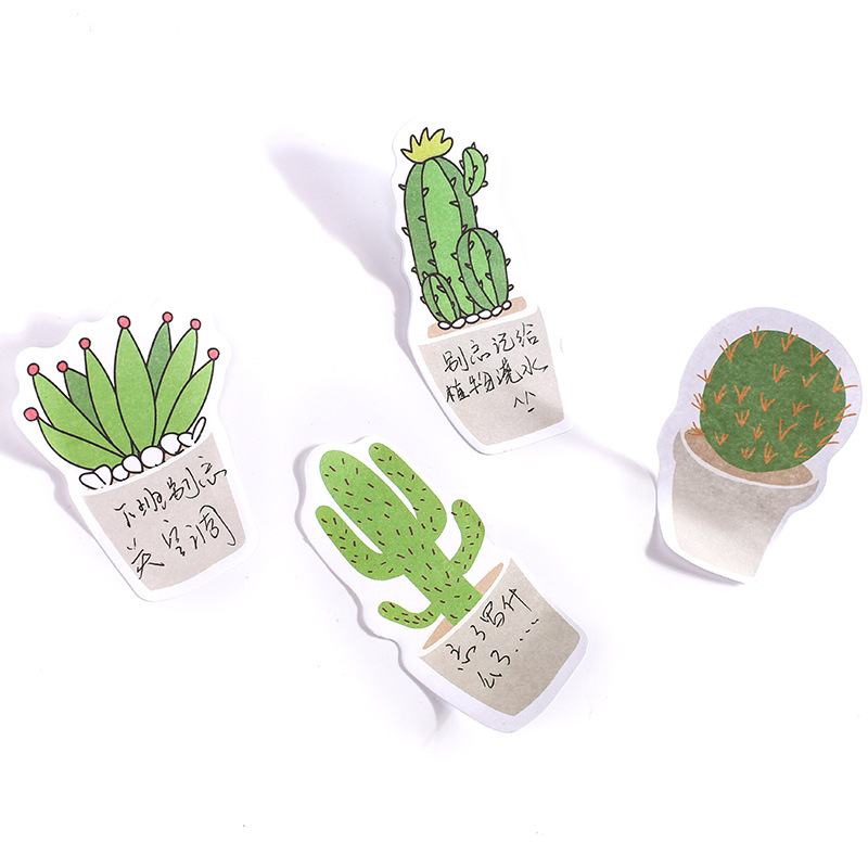 JOUDOO 4pcs/lot Novelty Cactus Love Memo Pad Sticky Self-Adhesive Post It Notes Bookmark Promotional Stationery School Supplies